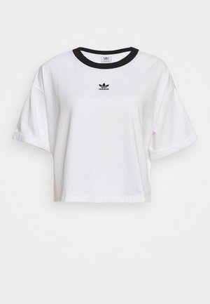 CROP  - Print T-shirt - white/black