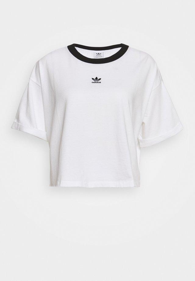 CROP  - T-shirt imprimé - white/black