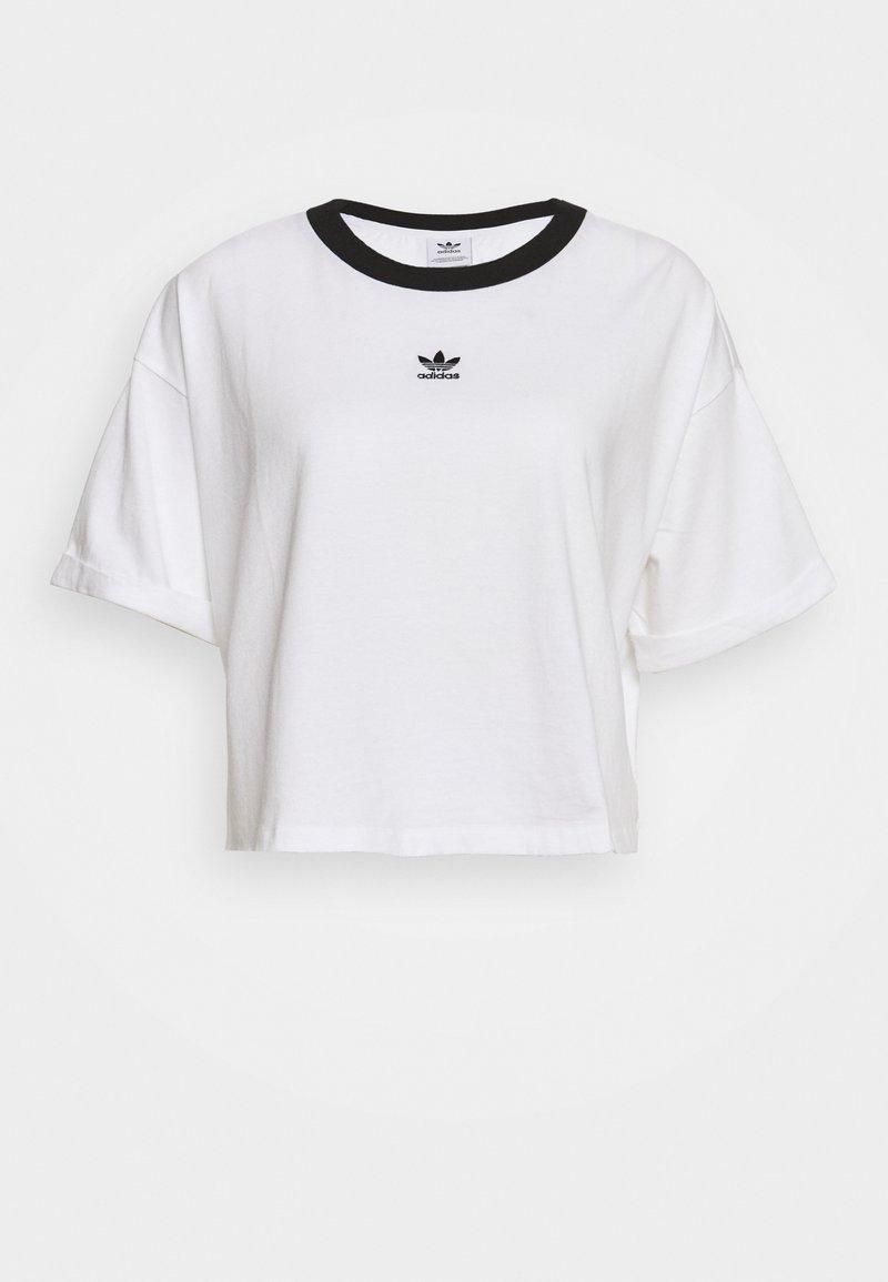 adidas Originals - CROP  - Print T-shirt - white/black