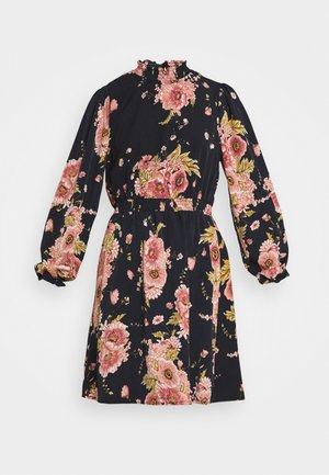 VIKANTI HIGH RUFFLE NECK DRESS - Day dress - dark blue