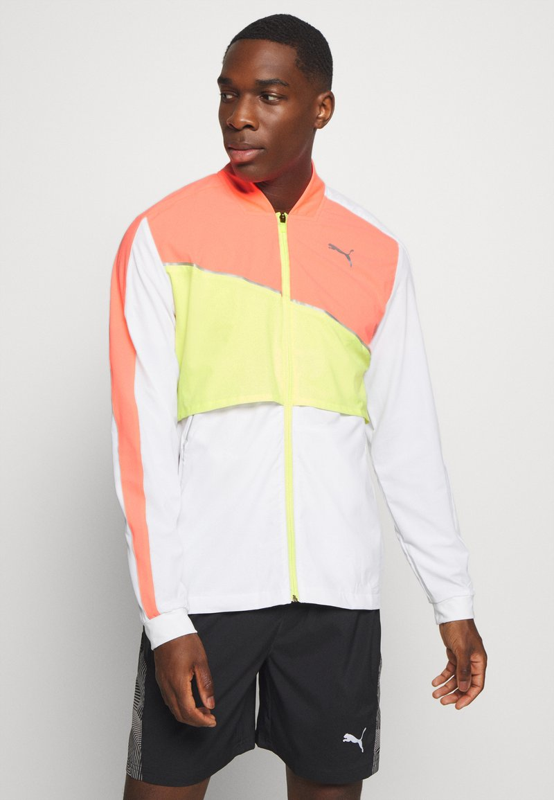Puma - RUN LITE ULTRA JACKET - Sports jacket - white/energy peach/fizzy yellow