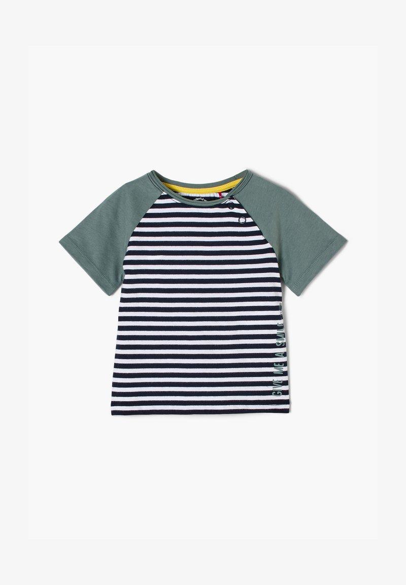 s.Oliver - MIT STREIFENMUSTER - Print T-shirt - dark blue