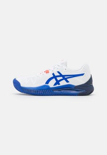 GEL-RESOLUTION 8 CLAY - Clay court tennis shoes - white/lapis lazuli blue