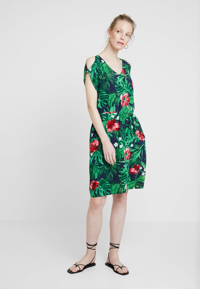 Day dress - navy/tropical