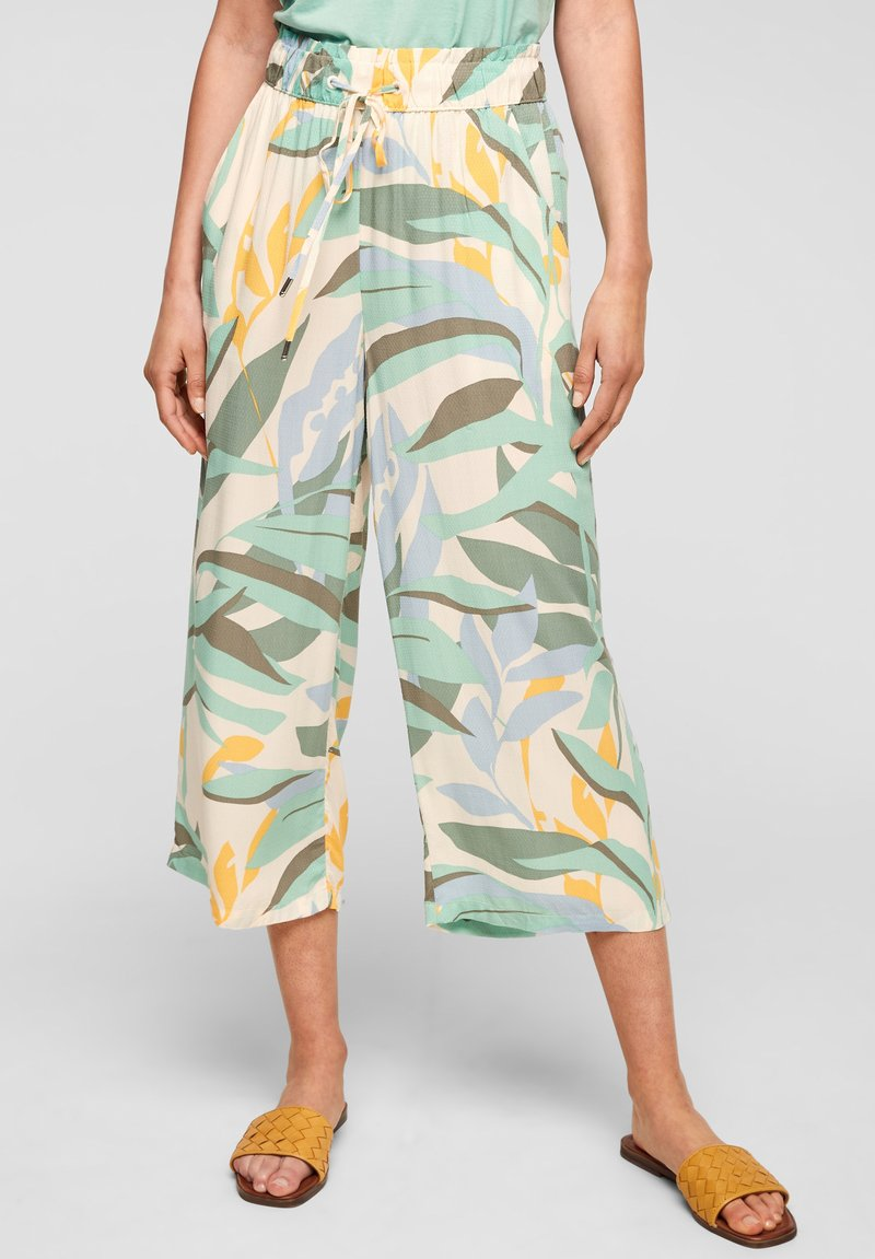 s.Oliver - Trousers - ocean green aop
