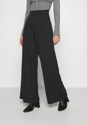 HIGH WAIST WIDE LEG TROUSERS - Broek - black