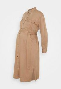 Pieces Maternity - PCMGEROMA MIDI SHIRT DRESS - Shirt dress - warm taupe - 4