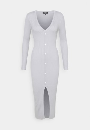 V NECK BUTTON FRONT DRESS - Strikket kjole - grey