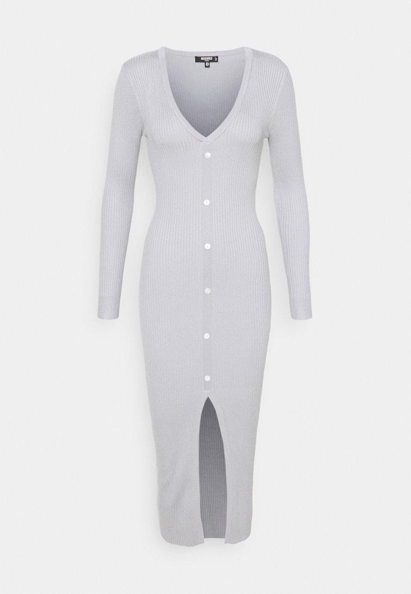 Missguided Petite - V NECK BUTTON FRONT DRESS - Strikket kjole - grey