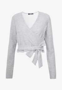 Missguided Tall - BRUSHED LONG SLEEVE WRAP TOP - Topper langermet - grey - 4