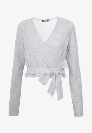 BRUSHED LONG SLEEVE WRAP TOP - Long sleeved top - grey