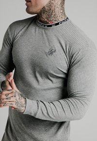 SIKSILK - RIB KNIT TEE - Long sleeved top - grey - 4