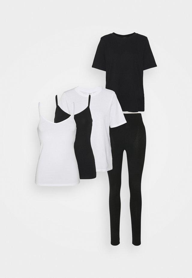 5 PACK BASIC SET - Leggings - black/white