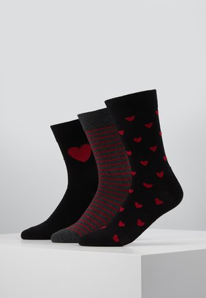3 PACK - Socks - black/dark red