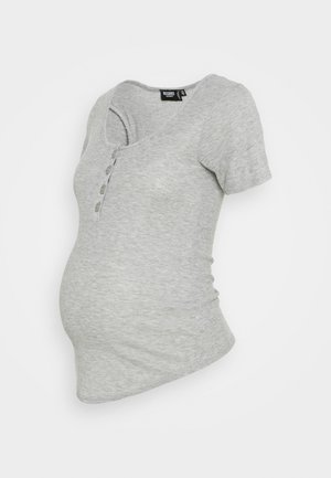 BUTTON FRONT NURSING - Camiseta básica - grey marl