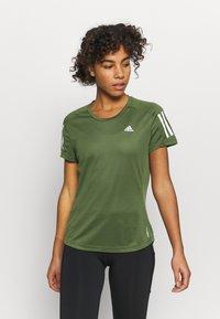 adidas Performance - OWN THE RUN TEE - Print T-shirt - khaki - 0