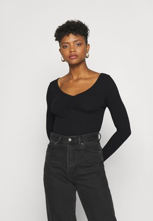 FRONT RUCHED - Long sleeved top - black
