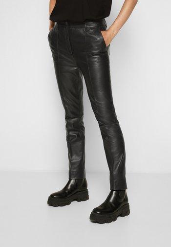 STRAIGHT LEG TROUSER - Leather trousers - black