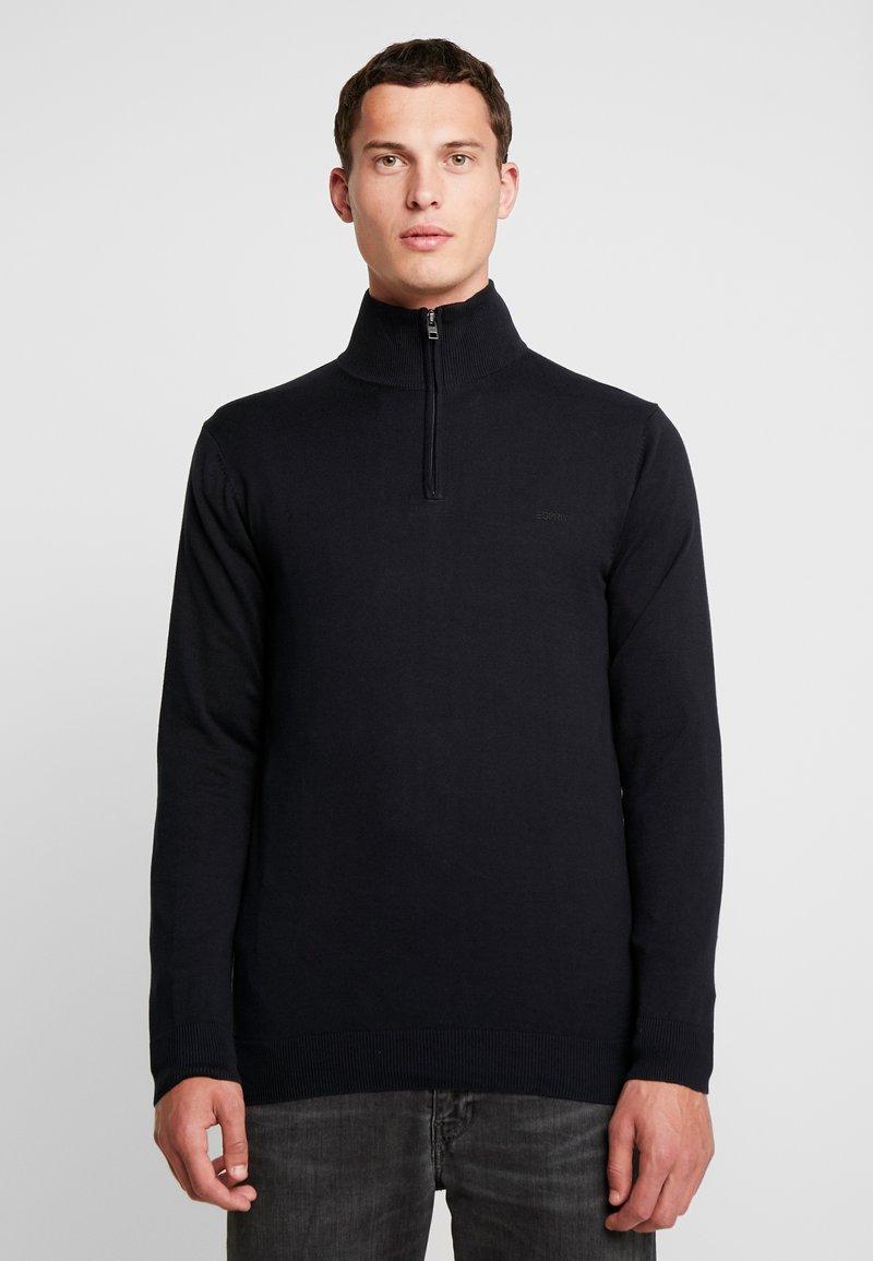 Esprit - HALF ZIP - Stickad tröja - black