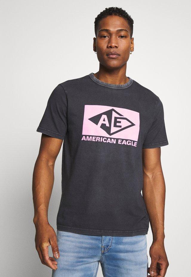BOUND NECK TEE - T-shirt con stampa - jet black