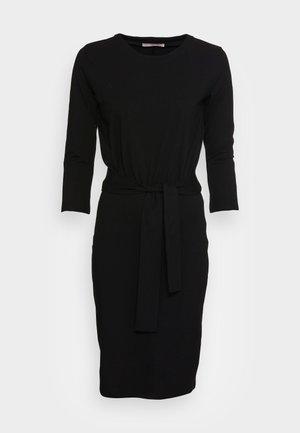 QUARTER SLEEVES LOOSE FITTED SKIRT DRESS  - Jersey dress -  black