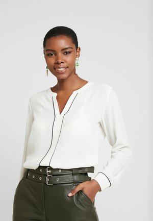 SPLIT NECK PIPED POPOVER - Blusa - snow day