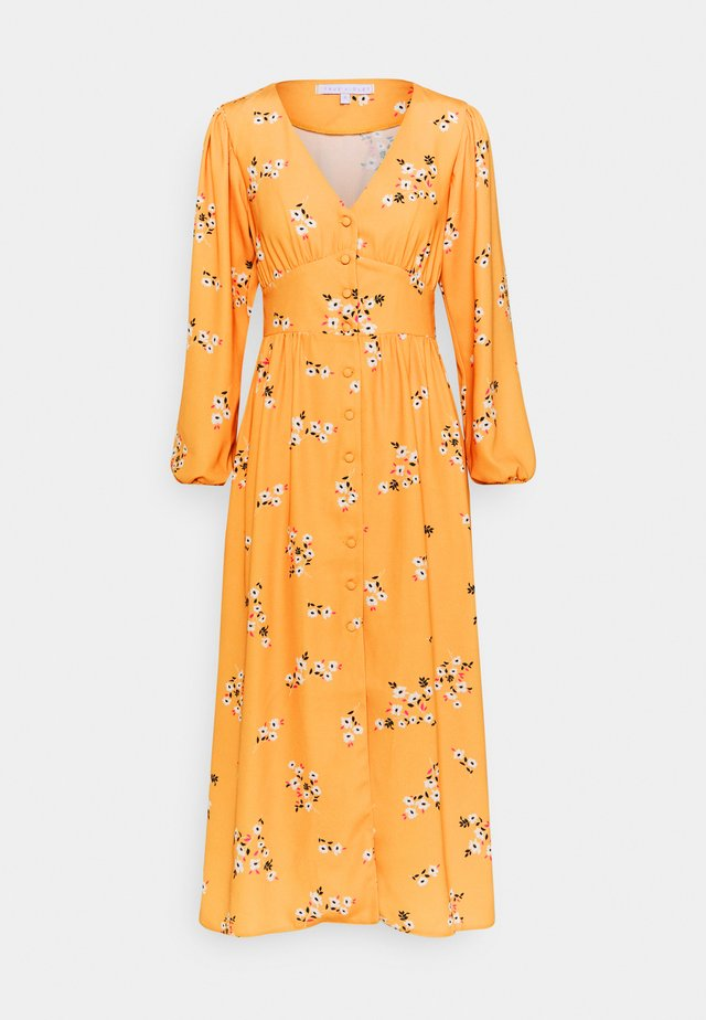 TRUE PLUNGE FRONT MIDI WITH BUTTON DETAIL - Shirt dress - yellow