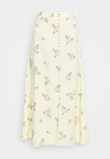 MIDI SKIRTS WITH FRONT SPLIT - A-line skirt - yellow/pink