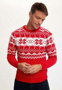 DeFacto - CHRISTMAS  - Stickad tröja - red - 3