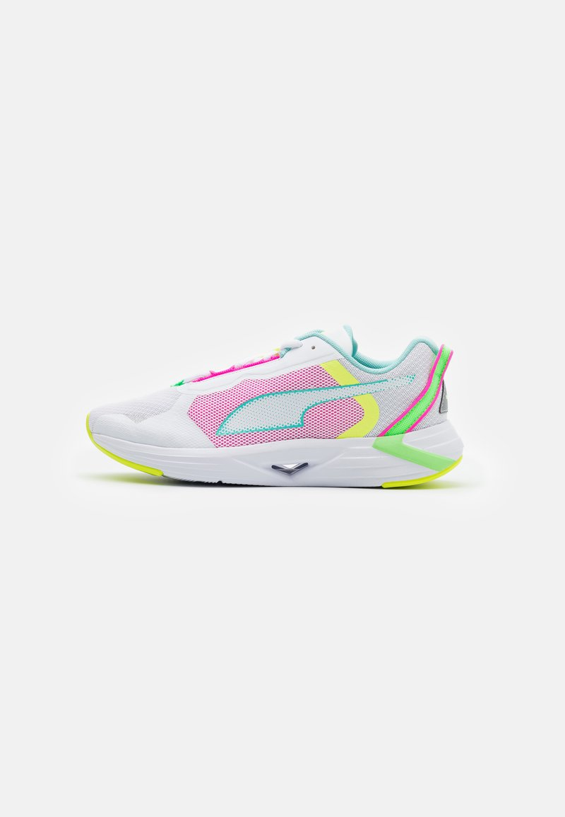 Puma - MINIMA  - Neutral running shoes - white/aruba blue/elektro green