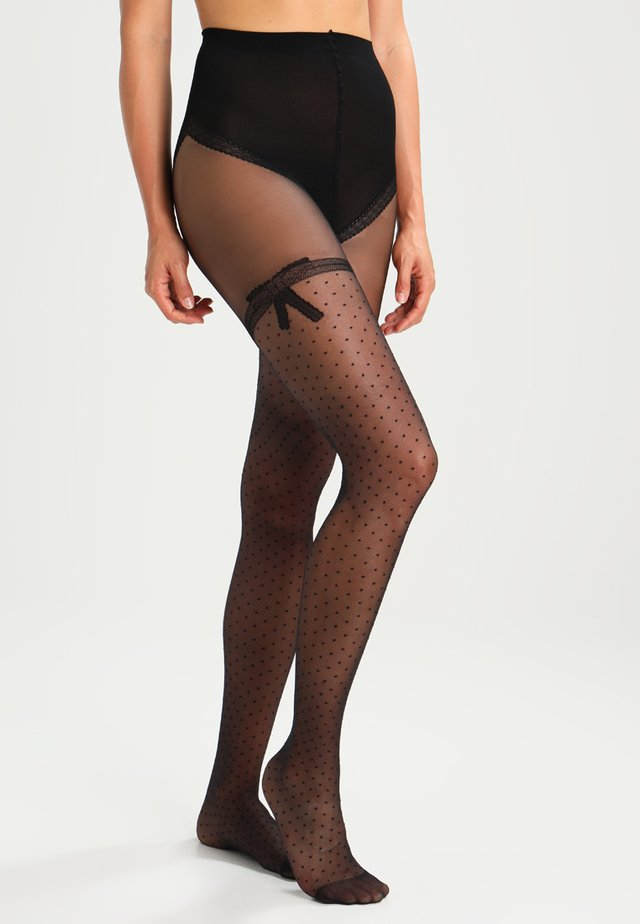 20 DEN COLLANT NOEUD DENTELLE - Collants -  noir