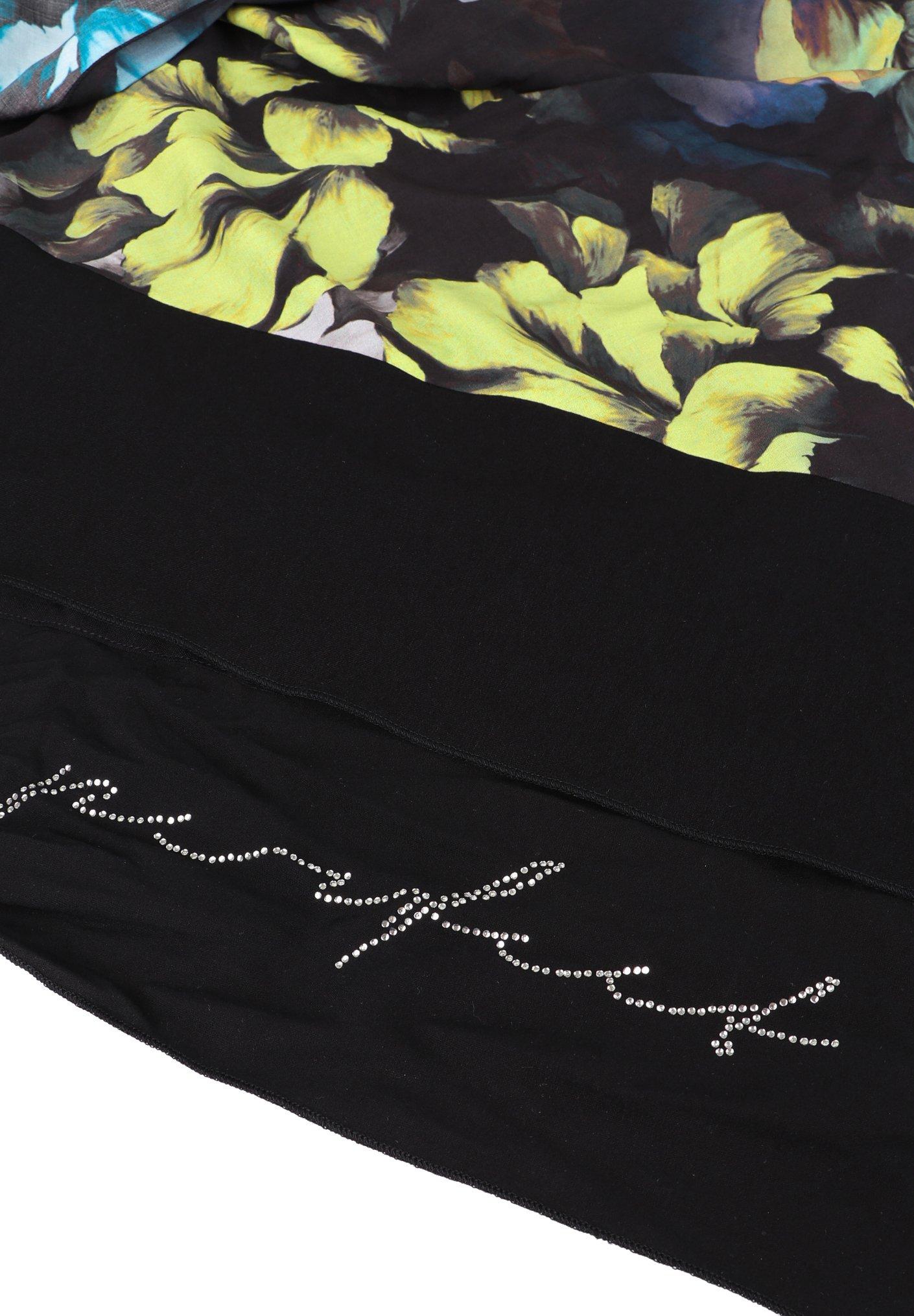 Doris Streich Mit Floralem Muster - Schal Petrol
