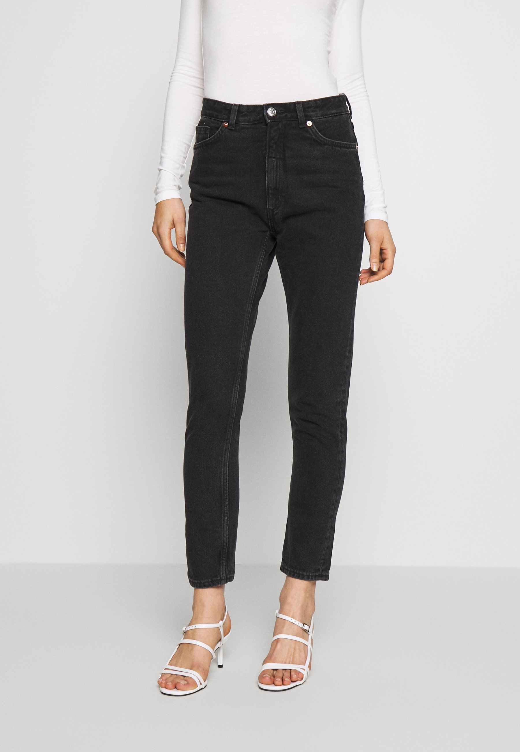 Monki KIMOMO - Jeans straight leg - black