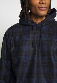 Topman - CHECK BRUSHED HOOD - Hoodie - dark blue - 5