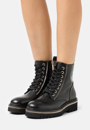 17 ZIP STREET - Lace-up ankle boots - black