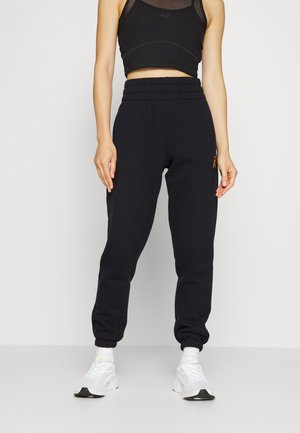 TIGER KING PRINTED EMBROIDERY HIGH WAIST RELAXED JOGGER - Spodnie treningowe - black