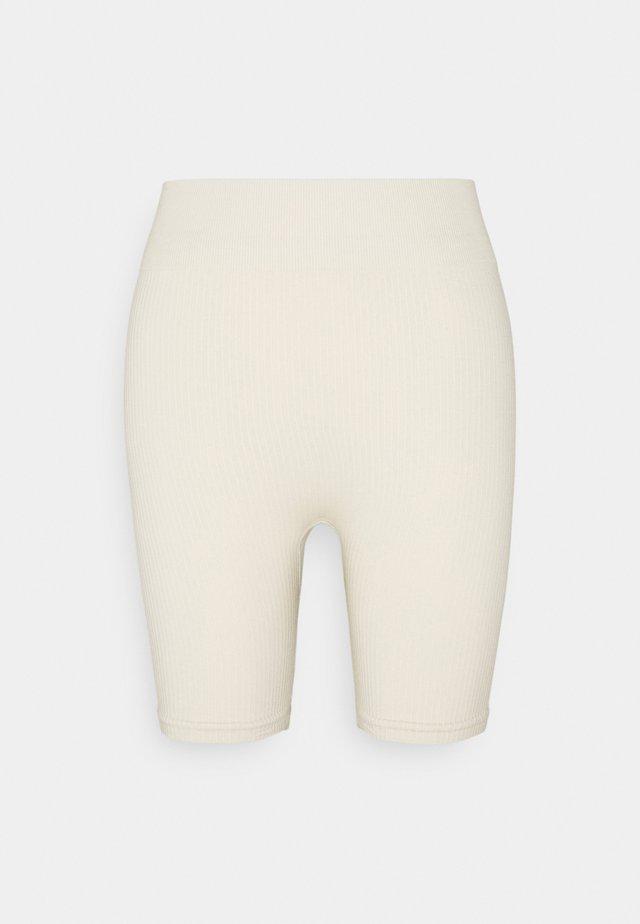 RIBBED LONG CYCLING SHORTS - Leggings - beige