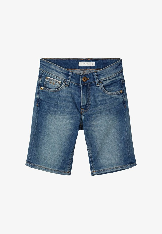 SLIM FIT - Jeans Shorts - medium blue denim