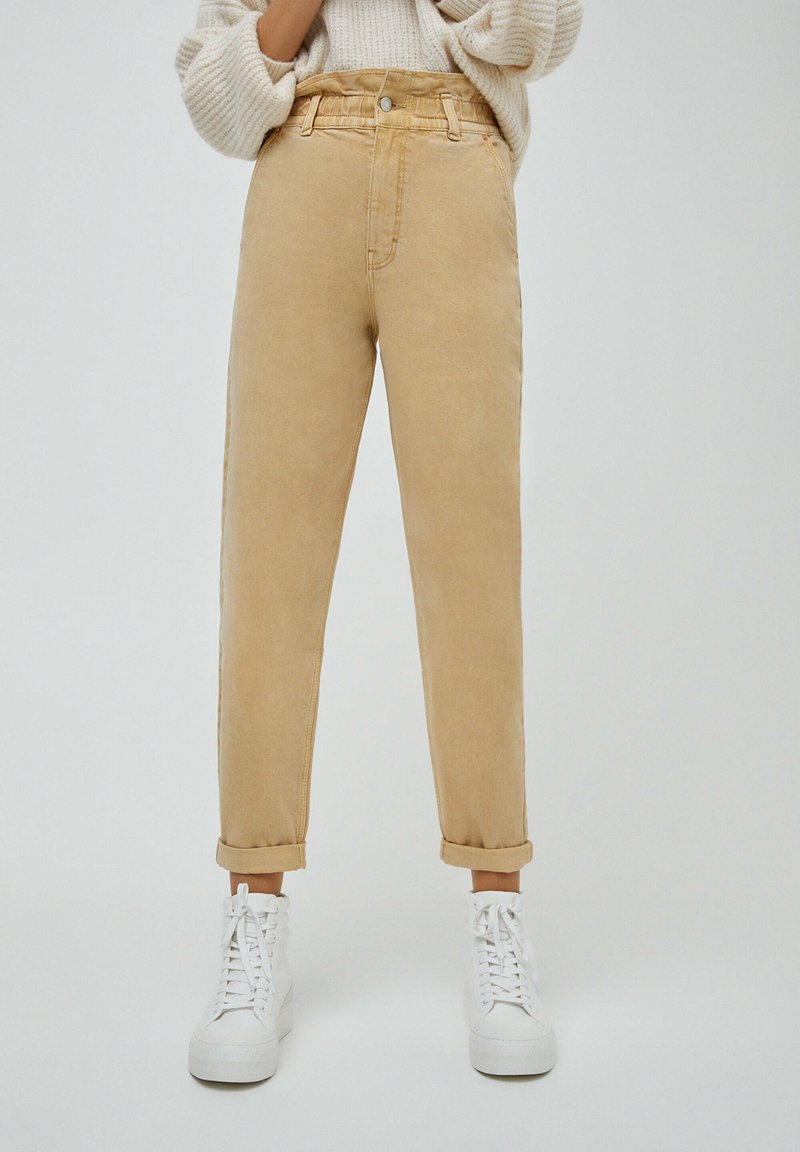 PULL&BEAR - PAPERBAG - Relaxed fit jeans - beige