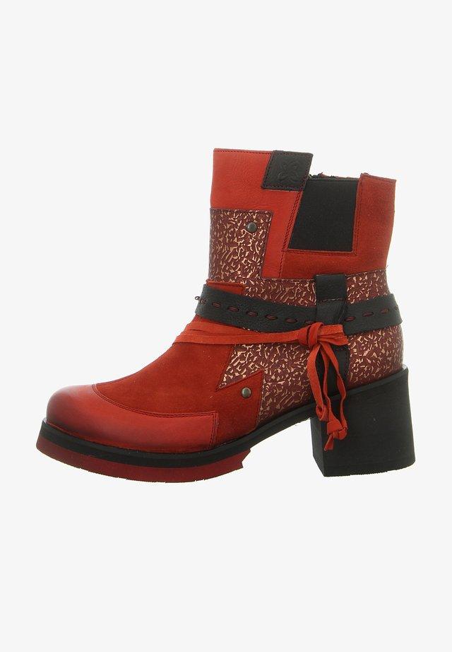 Cowboy/biker ankle boot - czerwony