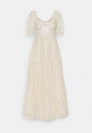 SEQUIN GINGHAM ANKLE GOWN - Occasion wear - champagne/blue