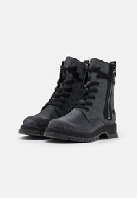 Marco Tozzi by Guido Maria Kretschmer - BOOTS - Lace-up ankle boots - black/metallic - 2