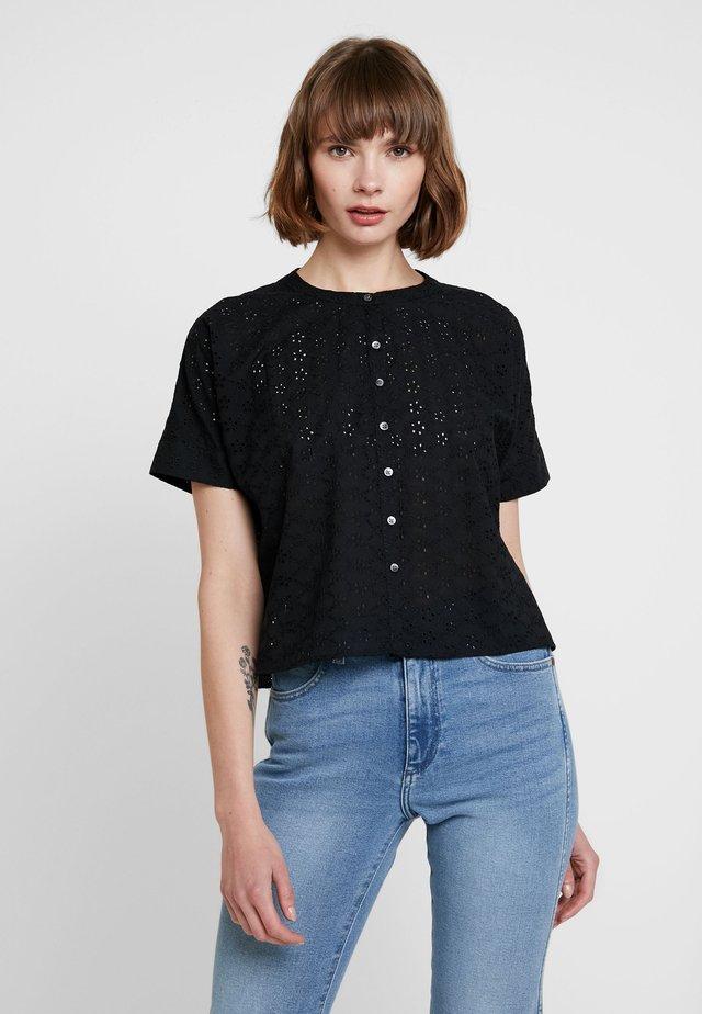 OVERSIZED EYELET - Button-down blouse - true black