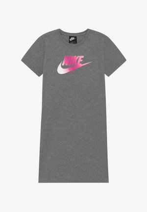 DRESS FUTURA - Jersey dress - carbon heather/pink