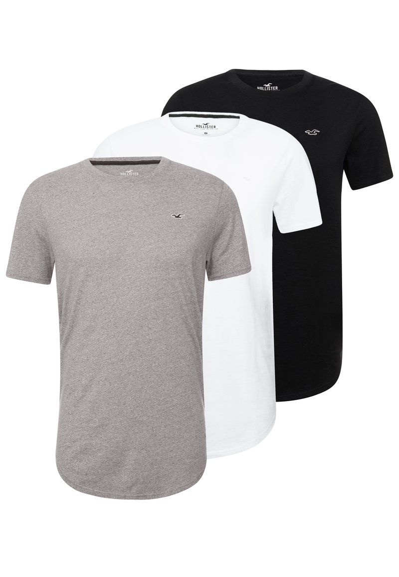 Hollister Co. - 3 PACK - T-shirt - bas - white/ grey /black