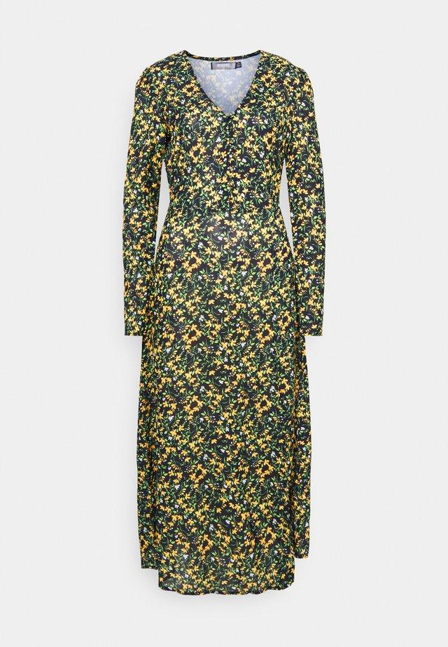 HALF BUTTON MIDI DRESS FLORAL - Korte jurk - yellow