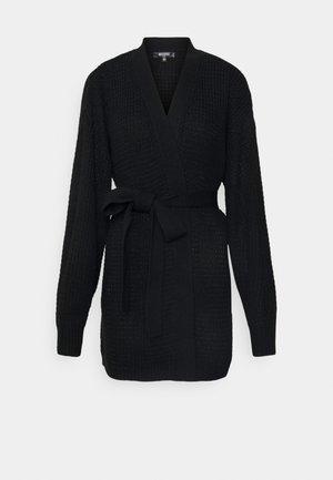 WAFFLE STITCH BELTED BALLOON SLEEVE CARDI - Vest - black