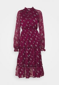 NA-KD - FRILL NECK MIDI DRESS - Day dress - dark red - 4