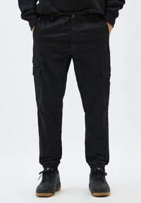 PULL&BEAR - Cargo trousers - mottled black - 0
