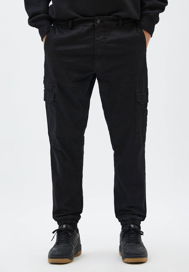 PULL&BEAR - Cargo trousers - mottled black